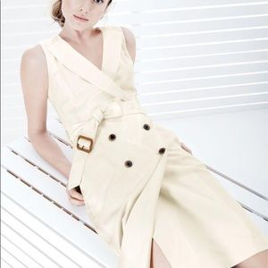 J Crew Ivory Super 120's Wool Trench Dress 8